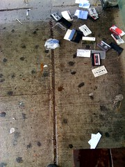 The Lost Tapes (|art|illery) Tags: chicago rain busstop artillery tapes cassettes iphone chicagoist