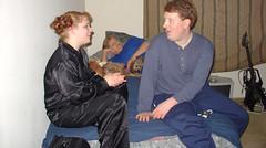20050108 - Pajama Jammy Jam (#2) - DSC00142 - Melanie, dog, Becky's mom, Kipp
