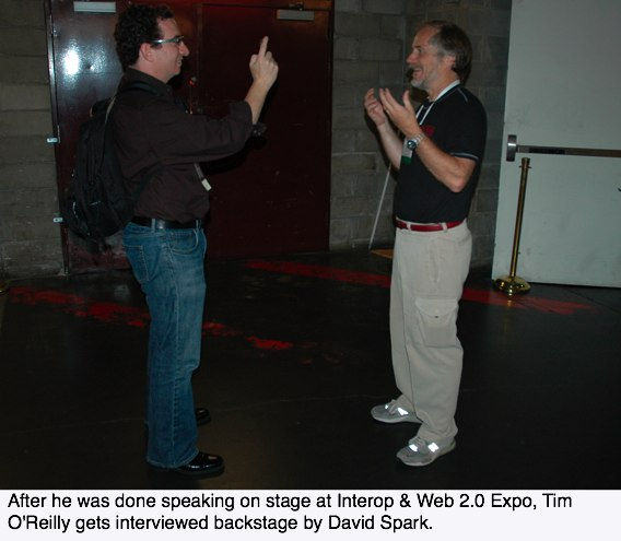 Tim O'Reilly getting interviewed backstage