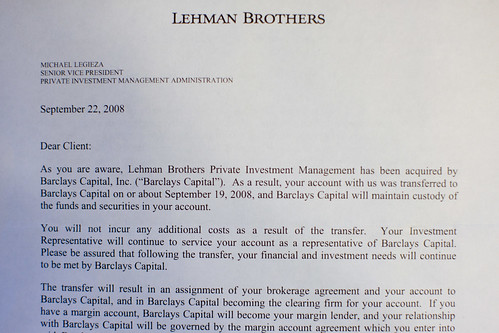 Goodbye letter from Lehman Brothers