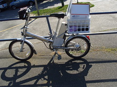 Electric Folding Bike (Seditious Canary) Tags: seattle bike mail postoffice bikes wa ballard foldingbike electricbike