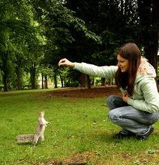 Squirrel & me (Masha Rapunzel) Tags: park england nature animal training squirrel feeding loughborough canon400d squirreltraining