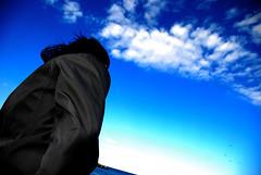 Il Cielo sopra (scarpace87) Tags: sea sky woman seagulls beach girl clouds person san mare wind rimini cielo adriatic hairs adriatico giuliano barafonda