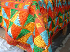 single bed cover II (on hand spun khaddar) - 2 (KritIndia) Tags: bagh bedcover phulkari silkembroidery khaddar darnstitch