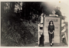Detour (shiphome) Tags: mom classics photographersshadow waybackmachine roadconstruction detoursign late1940s ushighway70 waybackwednesday hercousins fromthefamilyvaults withatowelonherhead whichisjustawesome