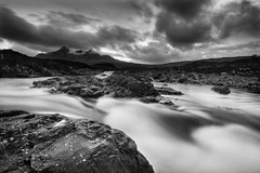 Sligachan: Skye (Corica) Tags: uk greatbritain blackandwhite skye clouds river landscape scotland britain gb aftersunset sligachan corica
