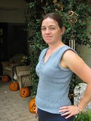 Isabella, side view (kirinqueen) Tags: knitting tanktop isabella knitty
