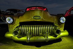 Toothy Grin (Lost America) Tags: lightpainting abandoned night buick fullmoon flashlight junkyard 1952 highway395 nocturnes buickspecial pearsonville
