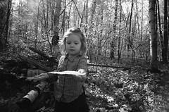 (Holga-Jen) Tags: autumn trees light blackandwhite sun fall film girl leaves forest leaf woods quebec kodak montreal toycamera plastic evidence vivitar bw400cn ultrawideslim vuws