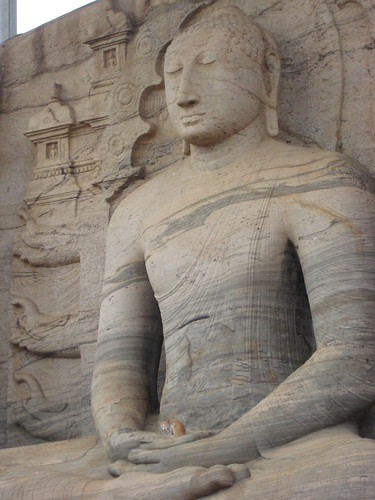 Gal Vihara - seated buddha #1 with cat