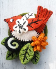 Felt bird brooch (woolly  fabulous) Tags: red black green bird wool leaves leaf recycled embroidery felt blanketstitch