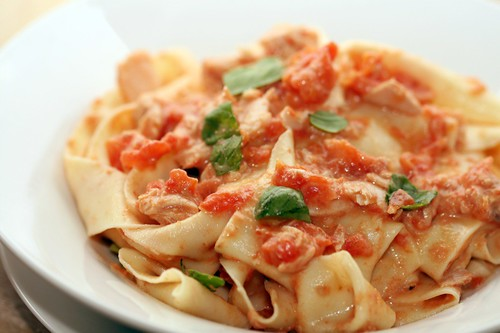 Pappardelle with a tuna & tomato cream sauce