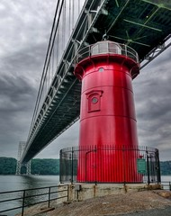 Little Red Lighthouse on a dark day (joiseyshowaa) Tags: park new city nyc newyorkcity bridge light red sky urban lighthouse house ny newyork detail water architecture river george washington newjersey waterfront traffic riverside little manhattan 911 nj 11 september boating jersey hudson september11 hdr bigmomma flickrsbest thechallengefactory joiseyshowaa thepinnaclehof joiseyshowa tphofweek43