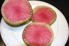 misato rose radish sliced on a plate