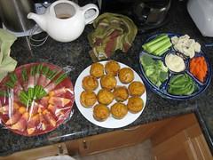 asparagus & cantaloupe in prosciutto, pumpkin muffins, veggies & dip