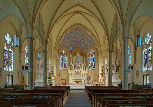 Saint George Roman Catholic Church, in New Baden, Illinois, USA - nave
