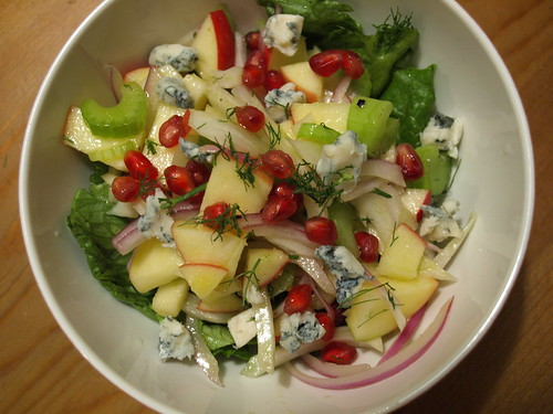 apple, fennel, pomegranate and blue cheese