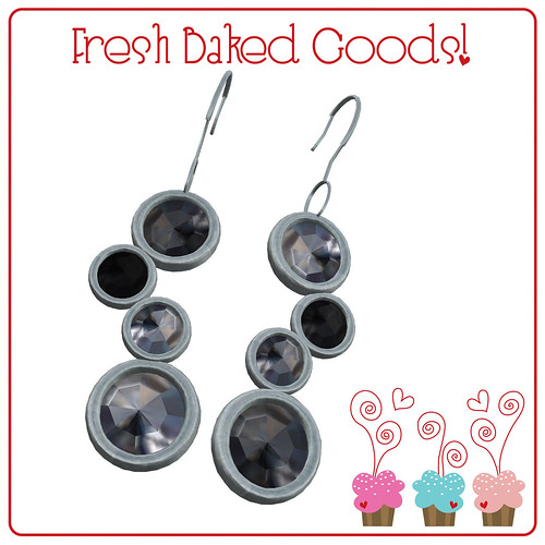 ~*Fresh Baked Goods*~ Black & White Sugar Silver Thumprint Cookie Earrings