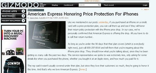 IPhone- American Express Honoring Price Protection For iPhones