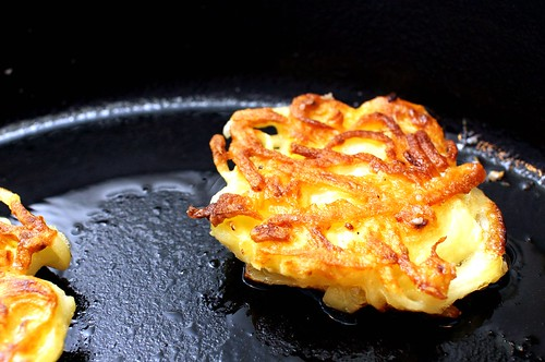 potato pancake, flipped
