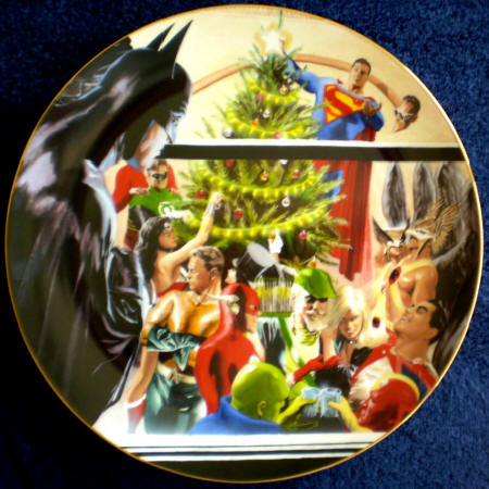 Justice League of America celebrating Christmas by Alex Ross