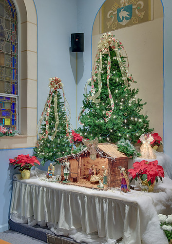 Saint John the Baptist Roman Catholic Church, in Villa Ridge (Gildehaus), Missouri, USA - Christmas tree and crèche