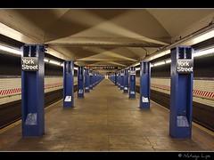 Endless... (Natasja ) Tags: subway underground transit urban new york city usa america manhattan street newyork newyorkcity december winter ny nyc thebigapple people york street station perspective subway station blue canon 40d eos 40d canon1740mmf4l