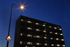 Twilight in Roehampton (morf*) Tags: city blue urban architecture streetlight streetlamp modernism 1960s sixties roehampton nightlighting altonestate