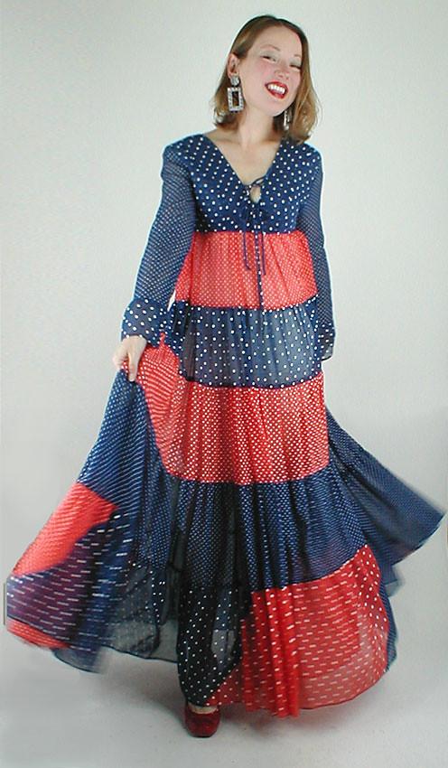 Early Vintage Gunne Sax Red/Blue Polka Dot Maxi Dress