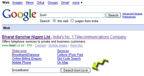 Google Site search box