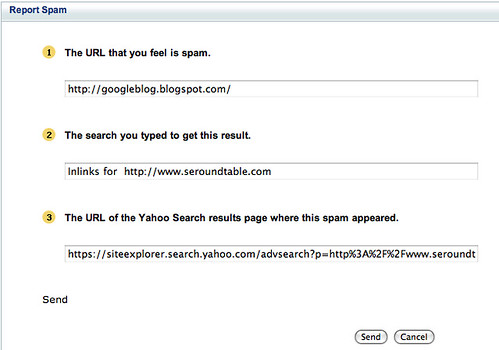 Yahoo Site Explorer Report Spam Link