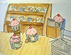 Cuppies looking at Magazines