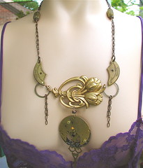 Victorian Tulips Steampunk Necklace (MadArtjewelry) Tags: necklace tulips assemblage ooak goth victorian jewelry lolita foundobjects etsy clockworks brass steampunk riveted handfabricated mixedmetals madartjewelry steamteam