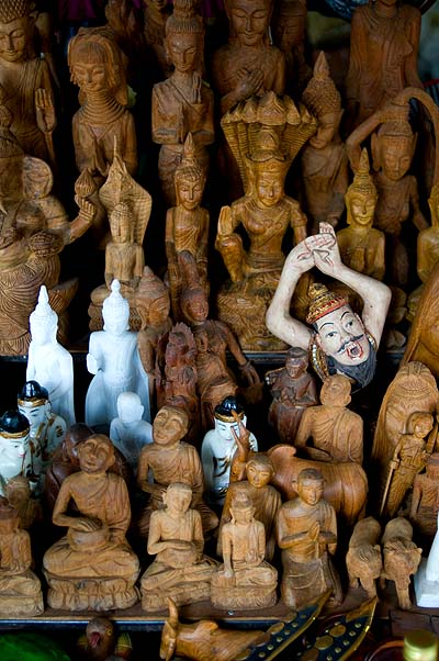 Buddha figures for sale at a market in Mae Hong Son, Thailand