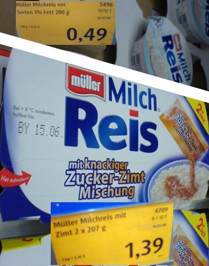 Milchreis von Müller - Einmal nachrechnen