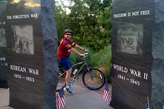 Biking at the Shelton War Memorial