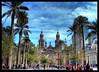Plaza de Armas de Santiago (Errlucho) Tags: chile plaza santiago gente catedral ciudad palmeras colores cielo nubes hdr