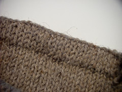 Knit-in hem, front