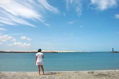 (Erick Moreno) Tags: blue sea sky white beach girl azul brasil natal mar cu farol vestido rn