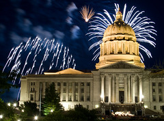 Capitol Fireworks 7.4.2008 (Notley) Tags: longexposure summer night facade fireworks capitol missouri dome fourthofjuly july4th 2008 nocturne colecounty jeffersoncity 10thavenue notley ruralphotography notleyhawkins missouriphotography httpwwwnotleyhawkinscom notleyhawkinsphotography