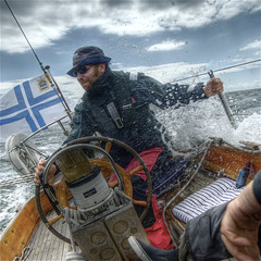Splash! (wili_hybrid) Tags: ocean trip travel sea summer vacation portrait people holiday man wet water sailboat geotagged denmark outside outdoors boat photo yahoo high nikon europe flickr european sailing exterior dynamic photos sweden outdoor ss picture july pic balticsea human journey linda captain wikipedia imaging summertime nordic sailor d200 splash scandinavia mapping 2008 range geotag tone hdr humans scandinavian oneperson hdri santtu karlskrona minttu oneman singleperson splashed sparkman interestingness8 photomatix nikond200 tonemapped tonemapping highdynamicrangeimaging christians year2008
