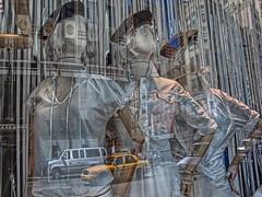 (shadowplay) Tags: nyc newyorkcity mannequin reflections soho broadway yellowcab displaywindow lucis