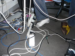 wires and drew's feet (alist) Tags: feet cords alist wires cambridgemass electrical plugs alicerobison ajrobison drewharry