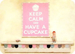 KEEP CALM AND HAVE A CUPCAKE by Everyday is a Holiday (holiday_jenny) Tags: uk pink england art wall vintage poster sweet britain wwii livingroom canvas cupcake handpainted british brit carryon inresidence shabbychic keepcalm