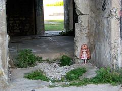 Stina, outside Sandy's House