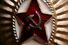 The Hammer & Sickle (icantcu) Tags: red people macro hammer closeup emblem star symbol zoom military device communist communism leftist commie sickle insignia enlarge coldwar ussr cccp detailed