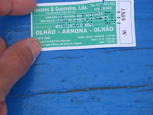 bilhete barco Olhão-Armona