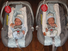 The boys in their carseats
