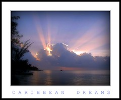 Caribbean Dreams (socalgal_64) Tags: ocean blue light sea sky nature water clouds landscape paradise seascapes natural sunsets jamaica caribbean rays heavenly beams couds montegobay topseven aplusphoto