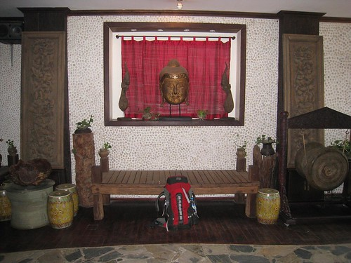Backpack and Buddha in the InterCity Hotel lobby